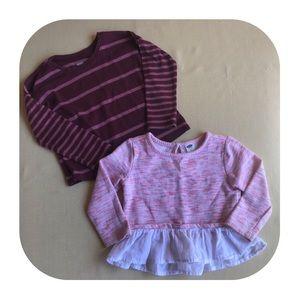 2 Old Navy long Sleeve Shirts Girls 2T